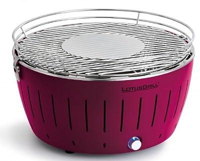 LotusGrill (Pflaumenlila) der rauchfreie Holzkohlegrill/Tischgrill in verschiedenen fröhlichen Farben. Garantiert immer die neueste Technik inkl. Magic Cover Ø 24 cm!