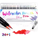 Watercolour Brush Pen Set,24 Colors Real Brush Paint Markers,Vibrant Water Soluble Ink,Flexible Brush