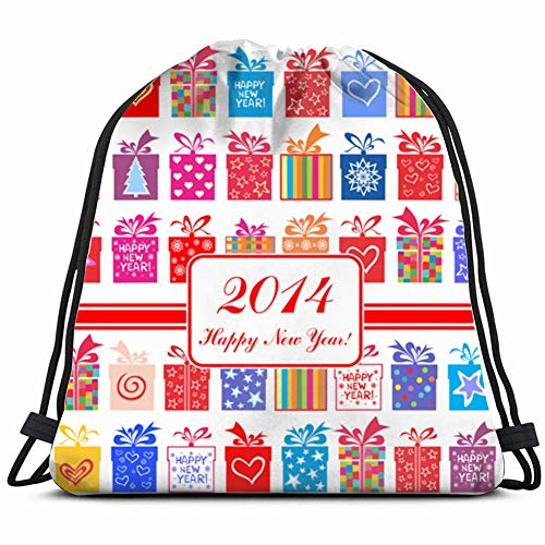 khgkhgfkgfk 2014 Happy New Year Greeting Card Set Holidays Drawstring Backpack Gym Sack Lightweight Bag Water Resistant Gym Backpack for Women&Men for Sports,Travelling,Hiking,Camping,Shopping Yoga
