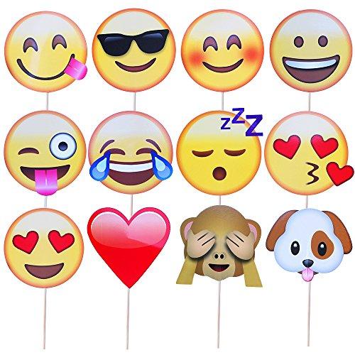 Meetory - Juego de 12 accesorios con forma de emojis para fotos, fiestas, cumpleaños y bodas
