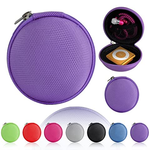 Magic Global Gadgets® Purple Storage Bag Universal Carrying Clamshell Pouch Case Cover For MP3, Earphones, Headphones, iPod Shuffle, iPod Nano 6, Apple Watch Sport, Memory Cards, Gym Use
