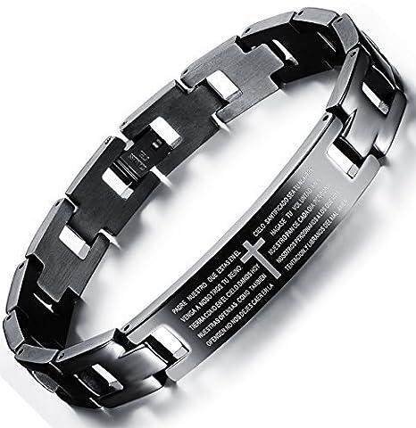 OSTAN - Kreuz Prayer 316L Edelstahl Armbänder für Herren - Neue Mode Schmuck Armschmuck, Schwarz