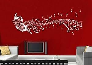 adesivi murali parete tatuaggio Adesivo soggiorno notte bambini Camera Cucina 30 colori per la selezione di amore fata farfalla cuore wsh03(082 beige, size3:ca.200x58cm)