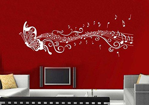 Wandtattoo wandaufkleber Aufkleber Wandsticker wall sticker Wohnzimmer Schlafzimmer Kinderzimmer KuCHE 30 Farben zur Wahl Liebe Fee music noten Schmetterling wsh03(Visualisierung)