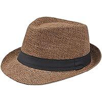 JUNGEN Sombrero de los hombres mujeres de paja de lino Cap Beach Sun Hat  verano anti 54710c79c32