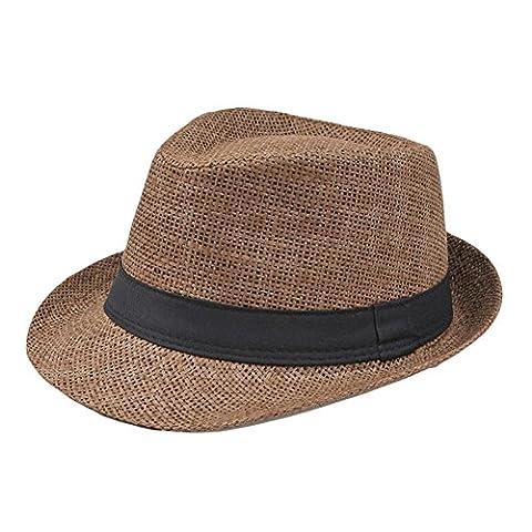 Da.Wa Männer & Frauen Sommer Kurzer Brim Natural Straw Fedora Hut (Männer Frauen Fedora)