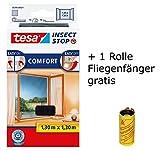 tesa Insect Stop Comfort Fliegengitter für Fenster/Insektenschutz mit Selbstklebendem Klettband/Anthrazit + 1 Fliegenfänger Gratis (3X 130 cm x 130 cm)