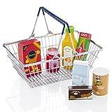KiddyPlay Cesta de la compra de metal y comida de juguete de madera
