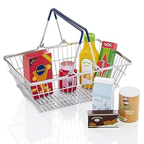 KiddyPlay Metal Shopping Basket & Wooden Play Food Set