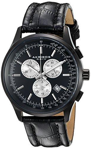 Akribos XXIV Men's AK863BK Round Black Dial Chronograph Quartz Black Strap Watch
