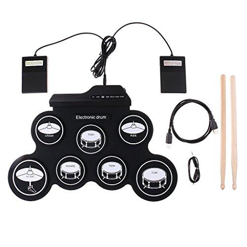 HJJH Roll-up-E-Drum-Set, Tragbare Trommeln, Tabletop-Drum-Set, 7 Pad Digital Drum Kit, Touch-Empfindlichkeit, Elektrische Drum Pads, Sehr Bequem Zu Tragen und Zu Speichern.