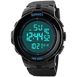 Skmei Herren sk1127b Outdoor Sport wasserdicht digital Display Armbanduhr Blau Zifferblatt