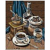 AFSZHWLP Peinture par numéros Bricolage exquise cafetière Nature Morte Toile décoration de Mariage Art Photo Cadeau