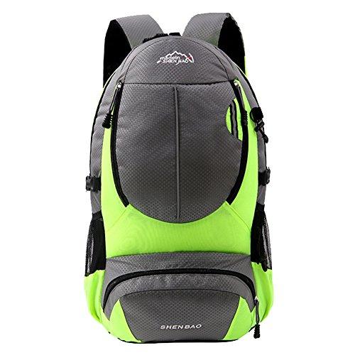 WTUS Unisex Outdoor Bergsteigen Tasche Freizeit Sport Schultertasche Leichtgewicht Wanderrucksäcke Grün