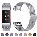 HUMENN Strap for Fitbit Charge 3, Milanese Metal Replacement Band Fully Adjustable Wristbands with Strong Magnet Lock for Fitbit Charge3, Small Silver