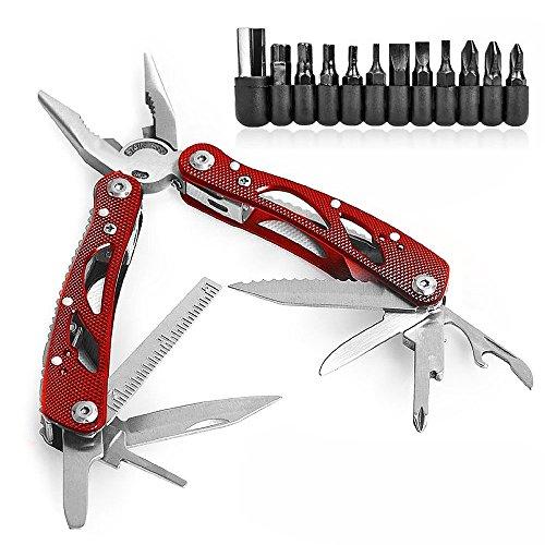 KKtick Edelstahl Multifunktionsmesser Tragbar Multiwerkzeug Klappmesser Zange Drahtschneider Schraubenschlüssel Säge Messer für Camping, Indoor&Outdoor (Rote)