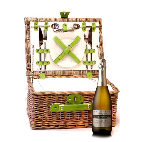 PERSONALISED 750ml Sparkling Prosecco Wine & 2 Person Luxury Green Chiller Picnic Basket Hamper with Accessories ADD YOUR OWN MESSAGE & NAME TO THE WINE LABEL