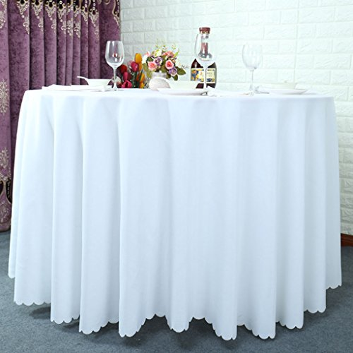Preisvergleich Produktbild Runde Tischtücher, Restaurant Hotel Solid Color Couchtisch Tuch Meeting Tischdecke Lila / Weiß / Grün ( Farbe : Weiß , größe : Round-320cm )