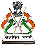 #4: Satyamev Jayate Indian Cross Flag With Dual Print on Acrylic Base and Attached With Glass