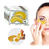 Set Kit of 10 Pairs 24 K Gold Golden Collagen Gel Crystal Masks Eyelids Patches Anti Aging Pads Puffy Eyes for Wrinkles Crows Feet, Dark Circles and Puffiness Removal and Hydration