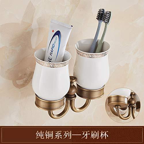LHbox Tap Massiv Messing antik Handtuchhalter Bad Handtuchhalter Racks voll Kupfer antiken chinesischen Porzellan, Zahnbürste Becher -