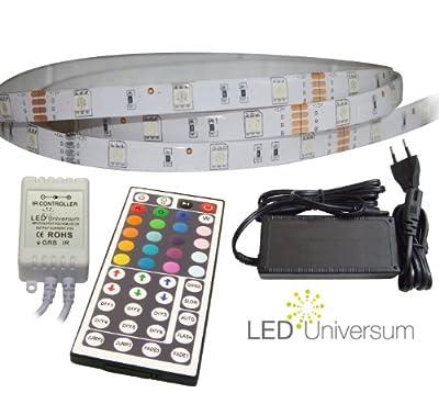 10 Meter Set: RGB LED Strip Streifen Leiste (10m, 30 LED/m, IP65) mit Controller, 44 Tasten Fernbedienung, 6A Netzteil von LED Universum auf Lampenhans.de