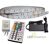 3 Meter RGB LED Stripe Streifen (30 LED/m, IP65) mit Controller, 44 Tasten Fernbedienung u. Netzteil