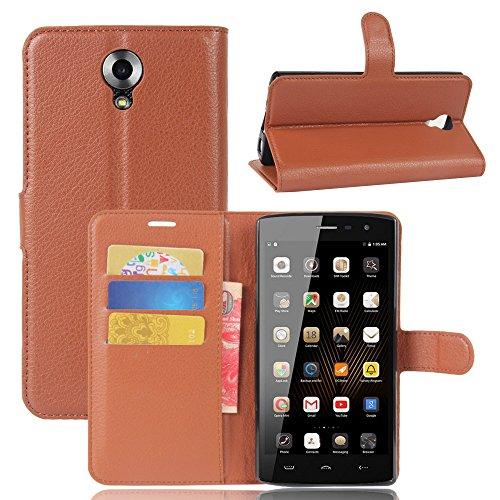 GARITANE Homtom HT7 Hülle Case Brieftasche mit Kartenfächer Handyhülle Schutzhülle Lederhülle Standerfunktion Magnet für Homtom HT7 (Braun)