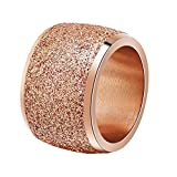 PAURO Bande de Mariage Large 16mm Frotter Bague Femme Acier Inoxydable Or Rose Taille 52
