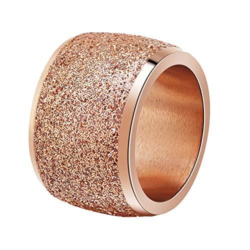 PAURO Damen 16mm Peeling Ringe Breites Hochzeitsband Edelstahl Roségold Größe 60 (19.1) -