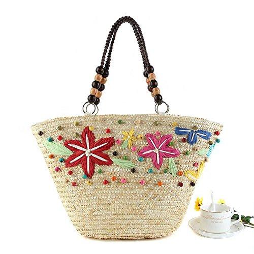 Stroh-wulstige Schulter-Starfish-Beutel-Frauen strickende Handtasche gesponnene Frauen-Freizeit-Spielraum-Sommer-Strand-Tote