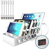 JZBRAIN Handy Ladestation für mehrere Geräte, Multi USB Ladestation mit Schalter, 6 Ports USB Ladegeraet für Smartphone und Tablet, 6 Kurze Kabel Inklusive, Weiß