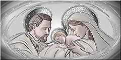Idea Regalo - Quadro Sacro Capezzale Santa Famiglia The Kiss Ceramic Argento con Glitter | 60 x 120