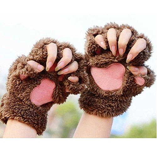 1 Paar Nette Fingerlose Pfote Plüsch Handschuhe von MAXGOODS, Katze Bär Paw, aus Künstlich Faux Pelz für Frauen Damen - Dunkelbraun (Nette Frauen Katze Kostüme)