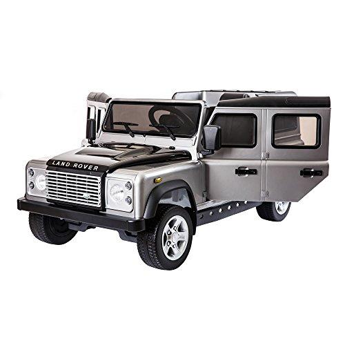 Lizenzprodukt Land Rover Defender Kids 12V Ride auf batteriebetrieben Elektro-Spielzeug Auto mit Fernbedienung–Metallic Silber Farbe mit zu öffnenden Türen, MP3Anschlüsse, Fernbedienung für glatte Start und EVA-Räder