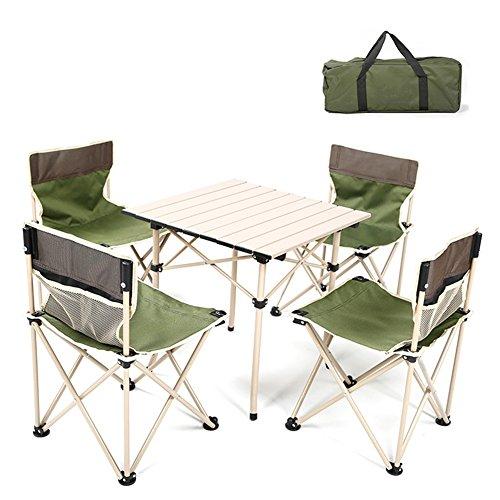 QIANGDA Camping Pliante Table Chaise Ensemble De 5 Pièces Alliage D'aluminium Rouler dans Un Sac Pique-Nique De Plein Air pour 4 Personnes- Plié: 63cm X 21cm, Poids: 7.48kg