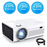 Crosstour Projector, Mini LED Video Projector 1080P Supported, HD Portable Projector with HDMI and AV Cable, Work with TV Box/PC/PS4/HDMI/VGA/TF/AV/USB/Smartphones (upgraded)