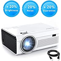 Crosstour Projector, Mini HD Video Projector 1080P Supported with HDMI and AV Cable, Work with TV Box/PC/PS4/HDMI/VGA/TF/AV/USB/Smartphones (upgraded)