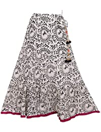 The B Boutique Black Print White Cotton Long Skirt For Women (Free Size)