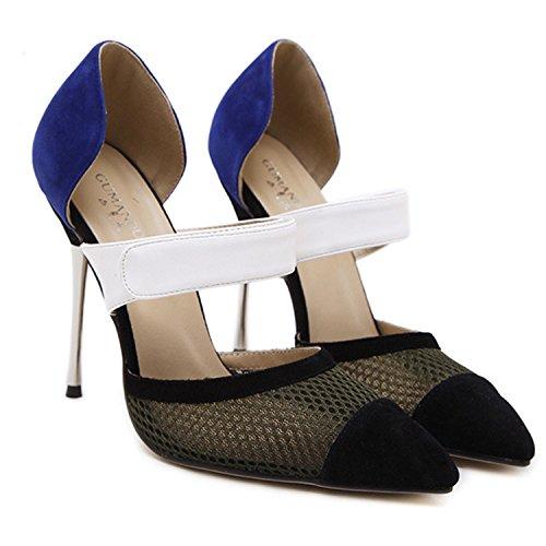 Oasap Damen Spitz High Heels Kontrastfarbige Pumps Black