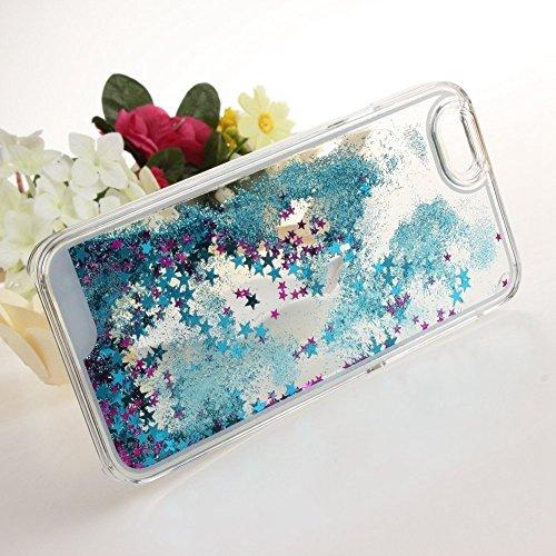 nnopbeclik iPhone se 55S Liquido per cellulare trasparente Custodia trasparente lucido 3d e glitter star stelle liquido con liquido Custodia Bumper Cover Case Custodia trasparente Crystal Case Custod blu