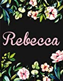 Rebecca: Personalised Notebook/Journal Gift for Women & Girls 100 Pages (Black Floral Design)