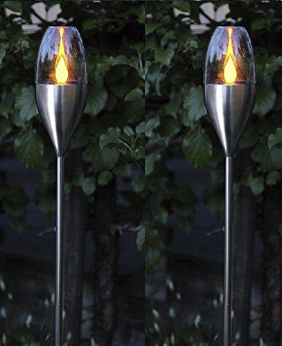 BUVTEC 2er-LED-Solar-Gartenfackel-Set, Edelstahl - 1 amber LED mit Solarpanel mit Akku, Outdoor