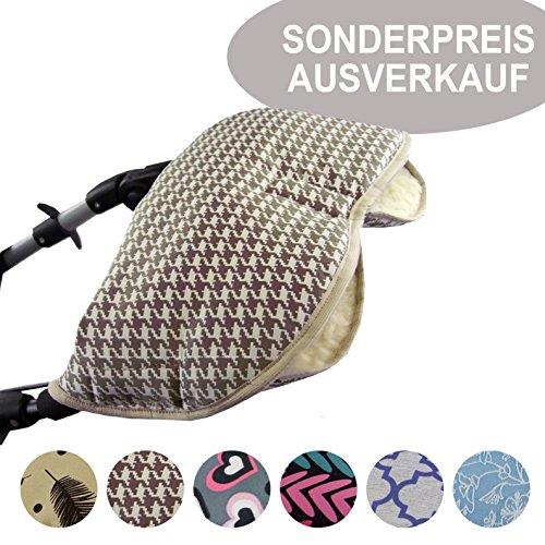 BAMBINIWELT SONDERANGEBOT universaler Muff/Handwärmer für Kinderwagen, Buggy, Jogger mit Wolle AUSVERKAUF (braun karriert)