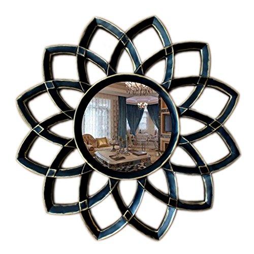 Umrahmt Harz (LIU UK Makeup Mirror Dekoratives Spiegel-europäisches Harz-kreative Kunst-Sun-Blumen-Spiegel-Wohnzimmer-Hintergrund-Wand-hängender Spiegel-Eingangs-Spiegel-Haus (Farbe : Black Bronze))