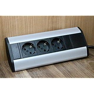 Premium Eck-Steckdose 3x Schuko aus Aluminium für Küche, Büro, Möbel. Steckdosenleiste mit 1,8m Schuko Kabel. Mehrfachsteckdose ideal für Arbeitsplatte als Aufbausteckdose. (3 x Schuko Stecker)