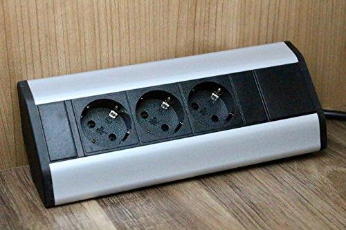 ecksteckdosen fuer kueche Premium Eck-Steckdose 3x Schuko aus Aluminium für Küche, Büro, Möbel. Steckdosenleiste mit 1,8m Schuko Kabel. Mehrfachsteckdose ideal für Arbeitsplatte als Aufbausteckdose. (3 x Schuko Stecker)