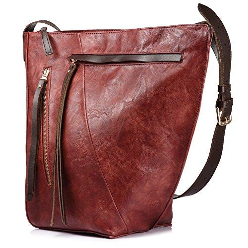Eimer tasche für frauen handtasche crossbody tasche reisetasche multi pocket mit großer kapazität mit langen tassel Rot