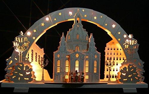 3D Schwibbogen Frauenkirche Dresden mit Kurrende Handarbeit Erzgebirge erzgebirgischer