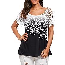 ❤️ camisetas mujer manga corta,Costura del cordón de las mujeres ocasionales que cose la camiseta impresa floral del o-cuello embroma la blusa de las tapas ABsolute